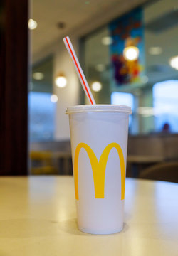 Mcdonald's cola drink in Mcdonald's restaurant fast food business background