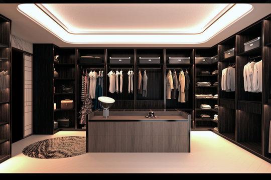 3d render of fashion shop, walk in closet