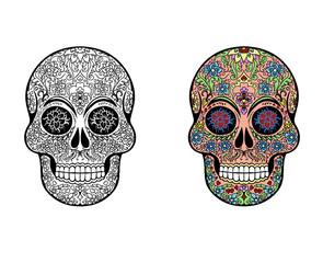 Illustration of an ornately decorated Day of the Dead (Dia de los Muertos) sugar skull, or calavera.