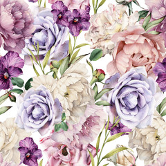 Obraz Seamless floral pattern with flowers, watercolor. Template design for textiles, interior, clothes, wallpaper. Botanical art - fototapety do salonu