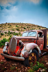 Large rusty old pickup truck