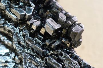 Fototapeta Crystals of iodine, iodine in metal form. obraz