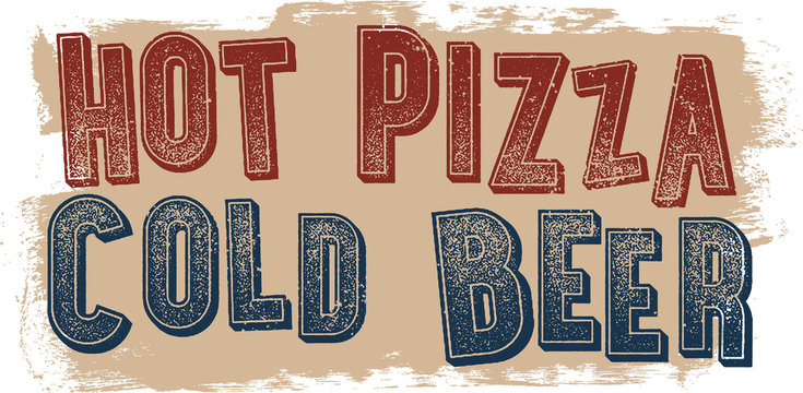 Hot Pizza Cold Beer Restaurant Promotion Sign