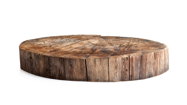 round wooden stand stand isoiled on a white background
