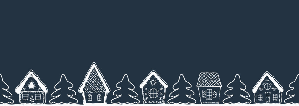 Christmas background. Winter village. Seamless border. Fairytale winter landscape. There are white silhouettes of houses and fir trees on a dark blue background. Greeting card template. Vector