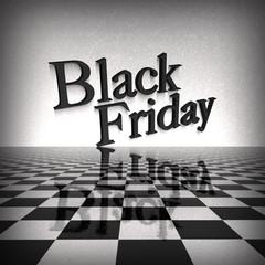 black-friday testo con riflesso su scacchiera