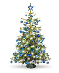 real natural nordmann xmas christmas tree with petrol blue turquoise silver and wooden decoration....