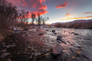 Vivid sunset at the Provo River, Utah, USA.