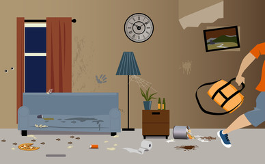 Obraz Young male tenants moving out of apartment, leaving it dirty and messy, EPS 8 vector illustration - fototapety do salonu