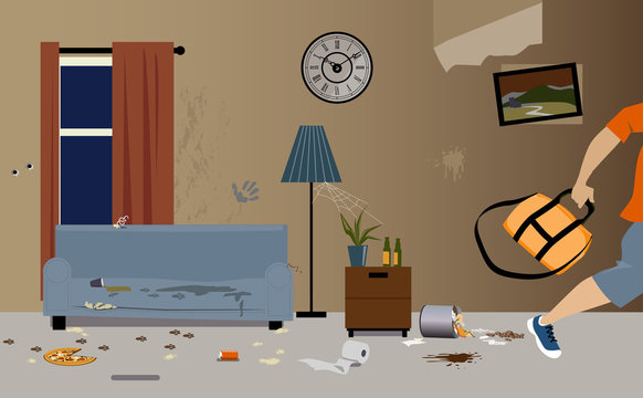 Young male tenants moving out of apartment, leaving it dirty and messy, EPS 8 vector illustration