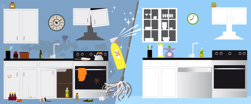 Kitchen interior before and after deep cleaning, EPS 8 vector illustration