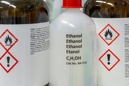 pharmacy bottle - alcohol or ethanol bottles in a laboratory environment