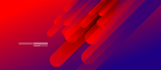 Flowing neon gradients geometric abstract background with straight lines and round tails. Fluid color pattern of color liquid gradient background for wallpaper, banner, background, card, landing page