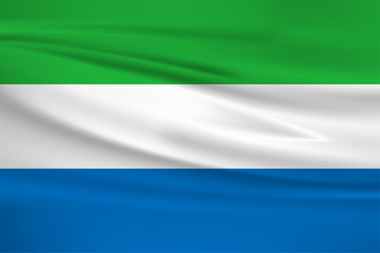Sierra Leone flag vector icon, Sierra Leone flag waving in the wind.