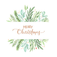 Christmas frame with eucalyptus, fir branch and holly - Watercolor illustration. Happy new year. Winter background with greenery elements. Perfect for cards, invitations, banners, posters etc