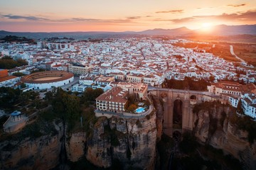 Ronda aerial view sunrise
