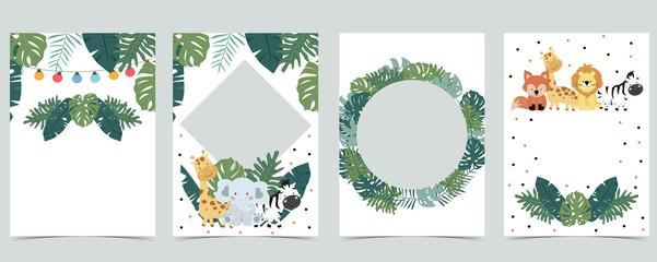 Green animal collection of safari empty frame set with lion,giraffe.Vector illustration for birthday invitation,postcard,logo and sticker