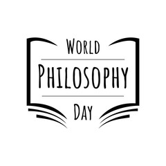 Hand drawn lettering of World Philosophy Day design vector graphic concept