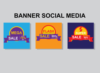 Set media banners with discount offer. Shopping background, label for business promotion. Can be used for website and mobile website banners, web design, posters, email and newsletter designs