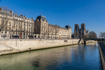 27 FEB 2019 - Paris, France - The Cite island and Notre-Dame Cathedral