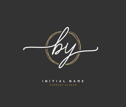 B Y BY Beauty vector initial logo, handwriting logo of initial signature, wedding, fashion, jewerly, boutique, floral and botanical with creative template for any company or business.