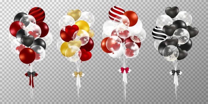 Red and black balloons on transparent background. Realistic glossy red and black balloons vector illustration. Party balloons decorations wedding, birthday, celebration and anniversary card design.