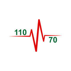 Icon or logo on a medical theme. Icon of normal heart and blood pressure 110 to 70.