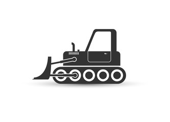 Heavy bulldozer badge. Flat design. Black icon on white background..