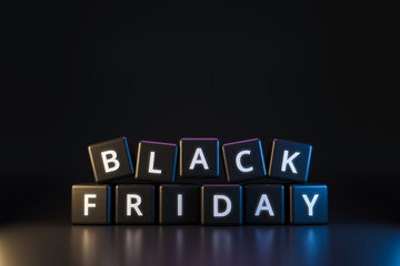 Black friday dice with thanksgiving and christmas concept on dark neon light background. Discount...