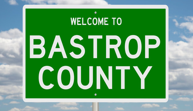Rendering of a green 3d highway sign for Bastrop County