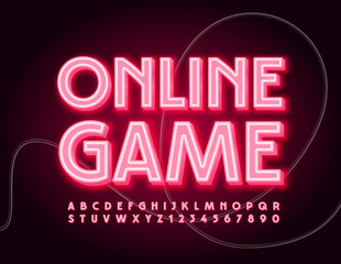 Vector neon sign Online Game. Modern electric Font. Red glowing Alphabet Letters and Numbers