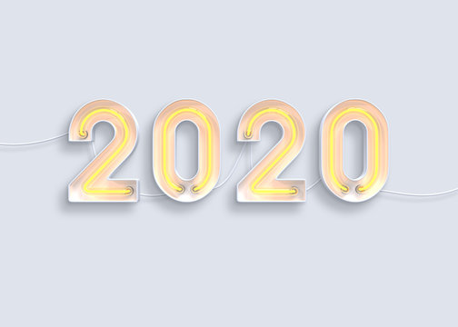 New year 2020 made from neon alphabet