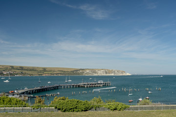 View over the beach and seafront at Swanage on the Dorset coast in Southern England