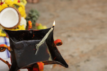 Fototapete - Indian Traditional Oil Lamp in Pooja
