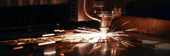 Sparks fly out machine head for metal processing Fotomurales