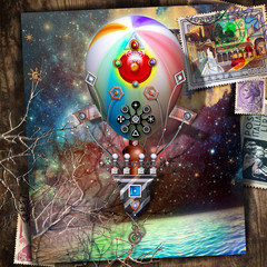 In de dag Imagination Starry night over the sea with vintage hot air balloon postcard in flight