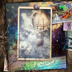 Spoed Foto op Canvas Imagination Starry night over the sea with vintage hot air balloon postcard in flight