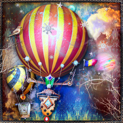 Flight of steanpunk hot air balloons in the night sky with stars and snowflakes.