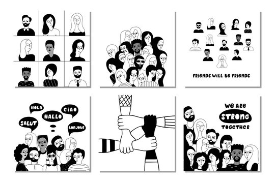 Multinational group of people together vector social media banner templates set