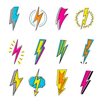 Lightnings color cartoon retro vector illustrations set