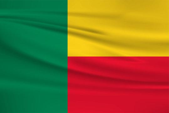 Illustration of a waving flag of the Benin