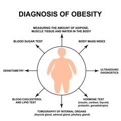 Diagnosis of obesity. World Obesity Day. Silhouette of a fat man. Infographics. Vector illustration on isolated background.