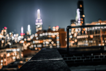 Blurred picture from Nyc rooftop of Empire state building