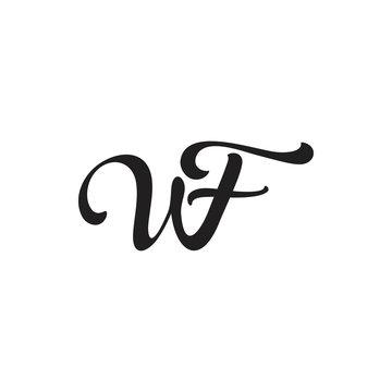 letter wf linked curves design logo vector