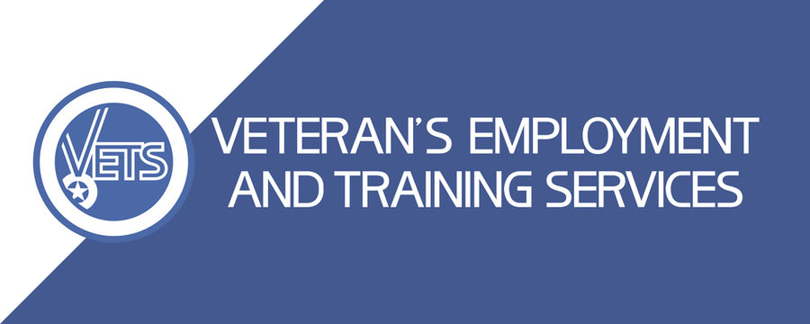 Veteran`s employment and training services (VETS) Poster with the image of a ribbon with a medal and text information.