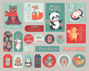 Fototapete - Christmas cards and gift tags set with cute animals. Woodland characters hand drawn style.