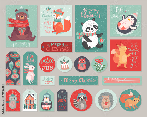 Canvas Prints Christmas cards and gift tags set with cute animals. Woodland characters hand drawn style.