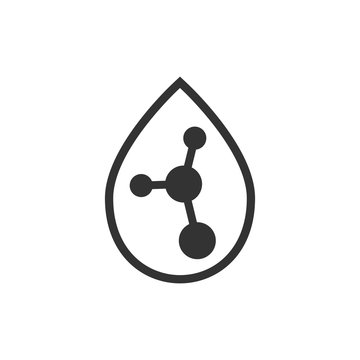 Acid molecule icon in flat style. Dna vector illustration on white isolated background. Amino model business concept.