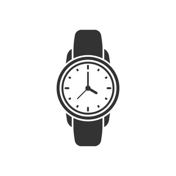 Wrist watch icon in flat style. Hand clock vector illustration on white isolated background. Time bracelet business concept.