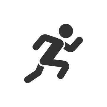 Run people icon in flat style. Jump vector illustration on white isolated background. Fitness business concept.